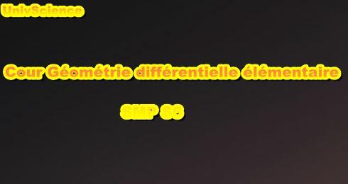 Cours Géométrie Différentielle Élémentaire SMP S6 PDF