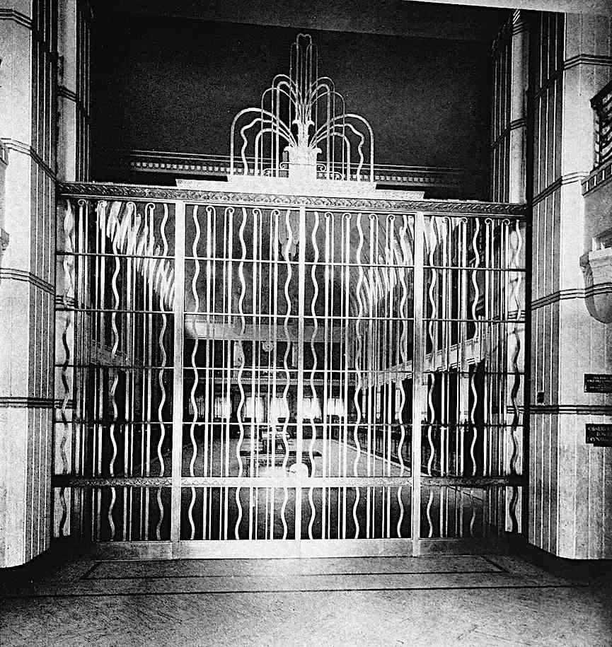 a 1938 metal gate as an art deco fountain