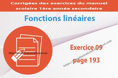 Exercice 09 page 193 - Fonctions linéaires