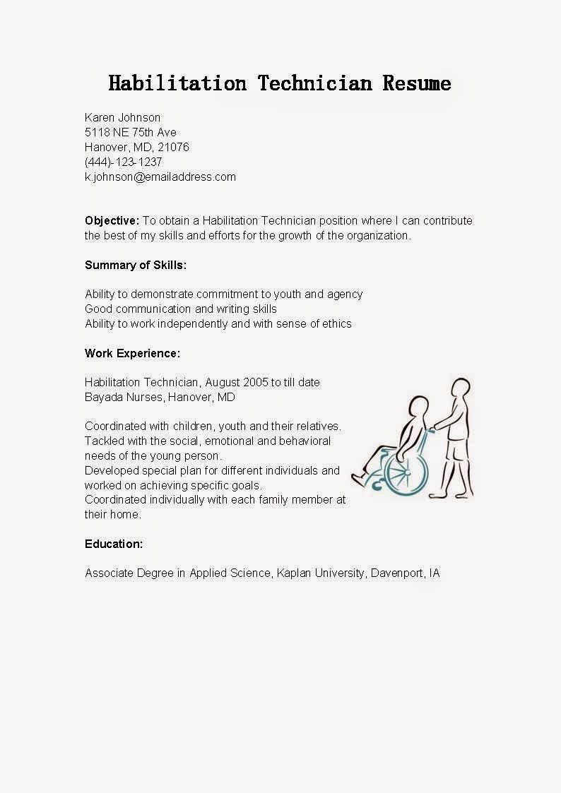 Resume Samples Habilitation Technician Resume Sample