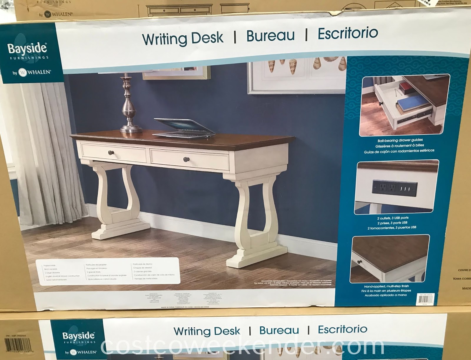 Costco 1900104 - Set up a quick and tidy workstation with the Bayside Furnishings Writing Desk
