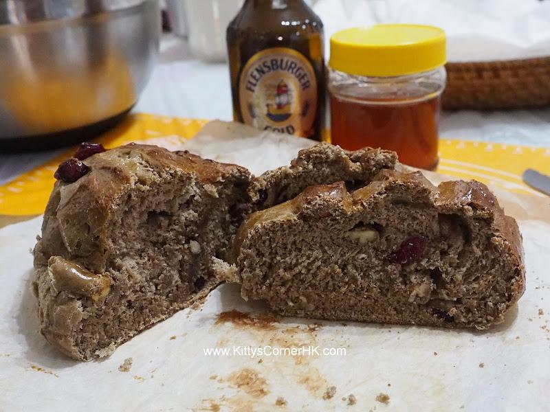 Dark Malt Honey Cranberry Loaf DIY recipe 黑麥芽蜂蜜蔓越莓麵包 自家烘焙食譜