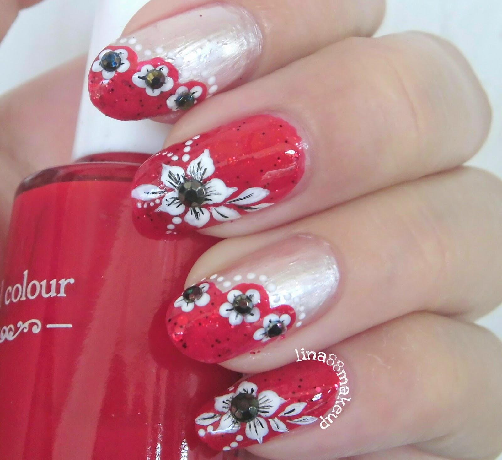 Ceriwis Sana Sini Soal Cewek: Kreasi Red Floral Nailart