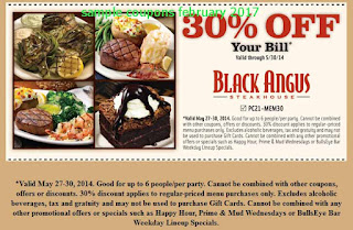 Black Angus Steakhouse coupons for february 2017