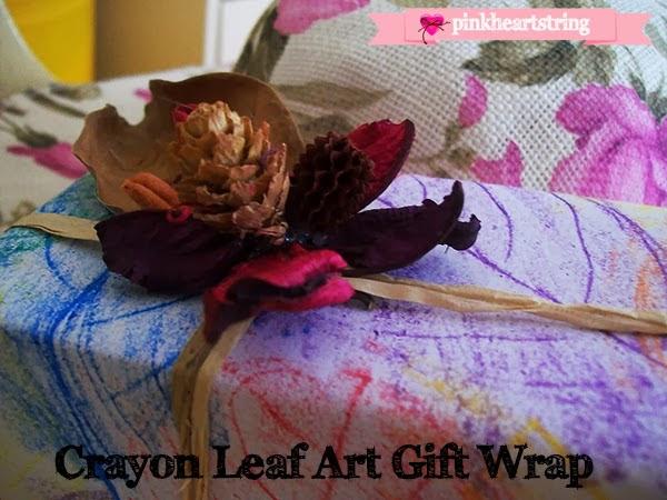 DIY Craft: Crayon Leaf Art Gift Wrap