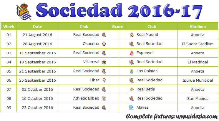 Download Jadwal Real Sociedad 2016-2017 File PNG - Download Kalender Lengkap Pertandingan Real Sociedad 2016-2017 File PNG - Download Real Sociedad Schedule Full Fixture File PNG - Schedule with Score Coloumn