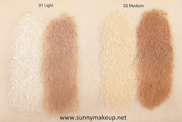 Swatches Maybelline - Easy Contouring. Master Contour: 01 Light, 02 Medium.