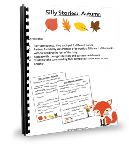 Want FREE copies of these fall-themed silly story worksheets?