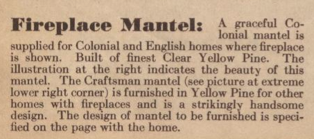 fireplace description mantel in 1931 GVT catalog
