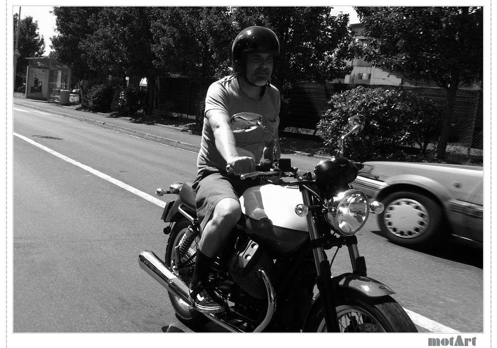 Frank on his Moto Guzzi V7 Special
