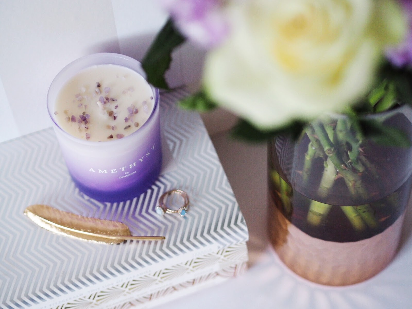 Gemporia Amethyst Birthstone Candle with White Roses and Lilac Stocks