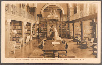A postcard showing the interior of Baker Library.
