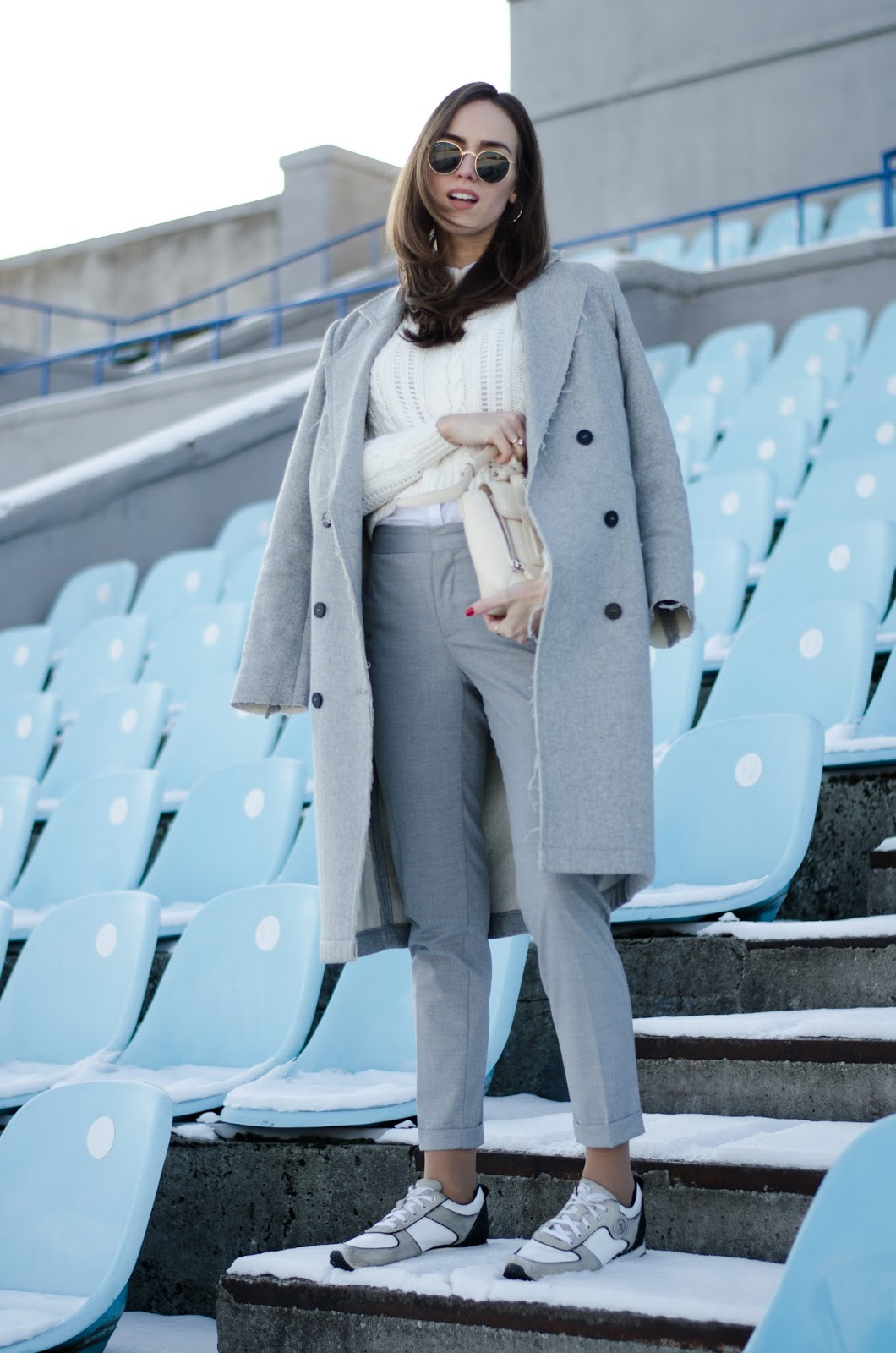 kristjaana mere grey cigarette pants winter outfit