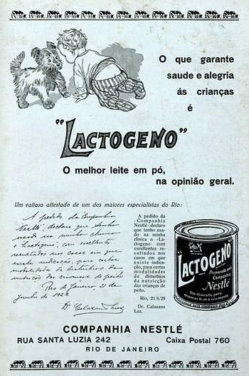 Propaganda antiga da Nestlé promovendo o Lactogeno como suplemento à alimentação de recém-nascidos