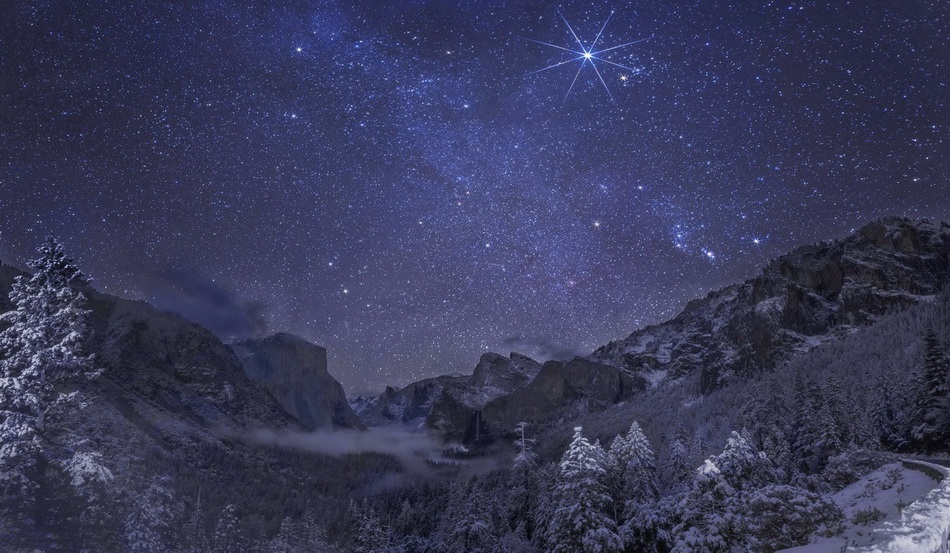 The Milky Way Galaxy and Orion Nebula over Yosemite ...