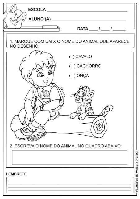 Atividade Linguagem Questão tipo Provinha Brasil