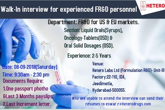 HETERO Walk In Interview For Experienced FR&D Personnel at 8  Sept.