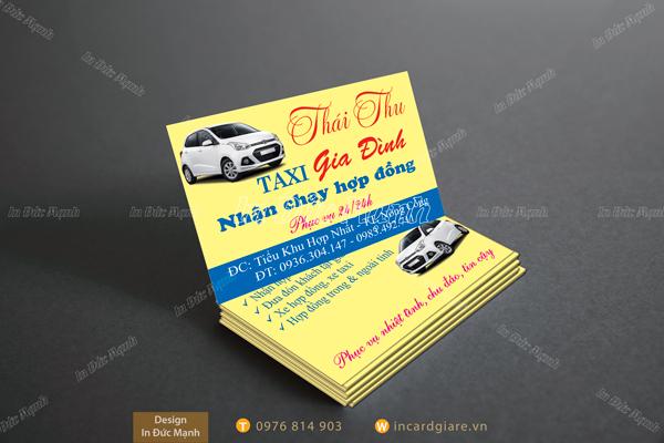 Mẫu card visit taxi Gia đình Thái Thu