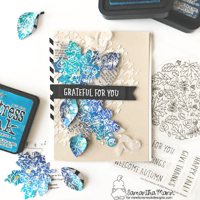 Grateful for You Card by Samantha Mann for Newton's Nook Designs, Fall, Leaves, Autumn, Distress Inks, Ink blending, heat Embossing, Banner, Die cuts, #newtonsnook #leaves #fall #autumn #cards #cardmaking