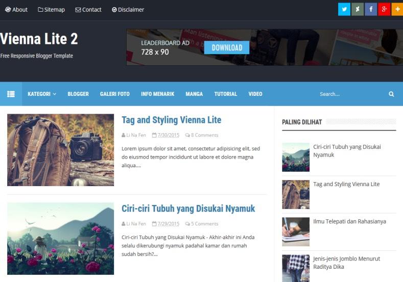 Blogger Com Templates | Vienna Lite 2 Blogger Template Download Premium Templatehack