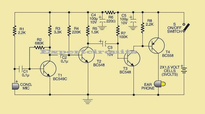 lowcost hearing aid project circuit diagram