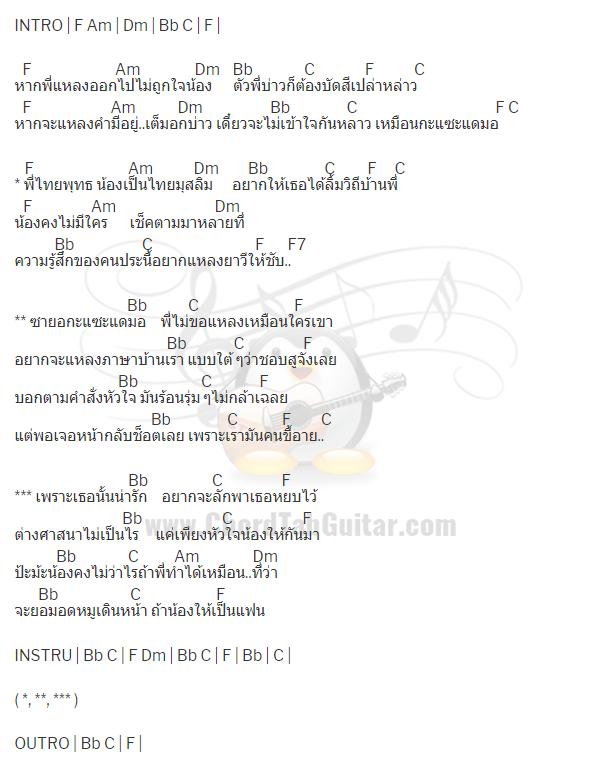 คอร์ดเพลง พี่ยอมไม่กินหมู(ซายอ2) - บ.เบิ้ล