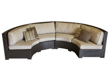Curved Wicker Sofa Sectional Two Piece Set with Antique Beige Sunbrella Fabric, Outdoor Furniture, Curved Patio Furniture, Modern Curved Sectionals, Curved Sectional, Curved Patio Furniture,