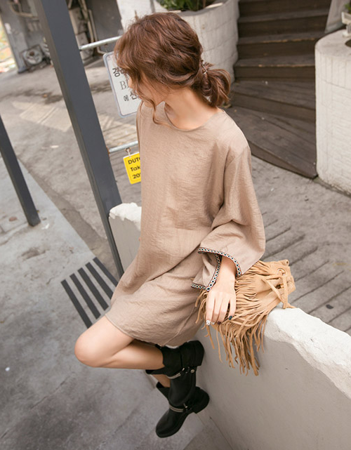 Solid Tone Mini-Length T-Shirt Dress