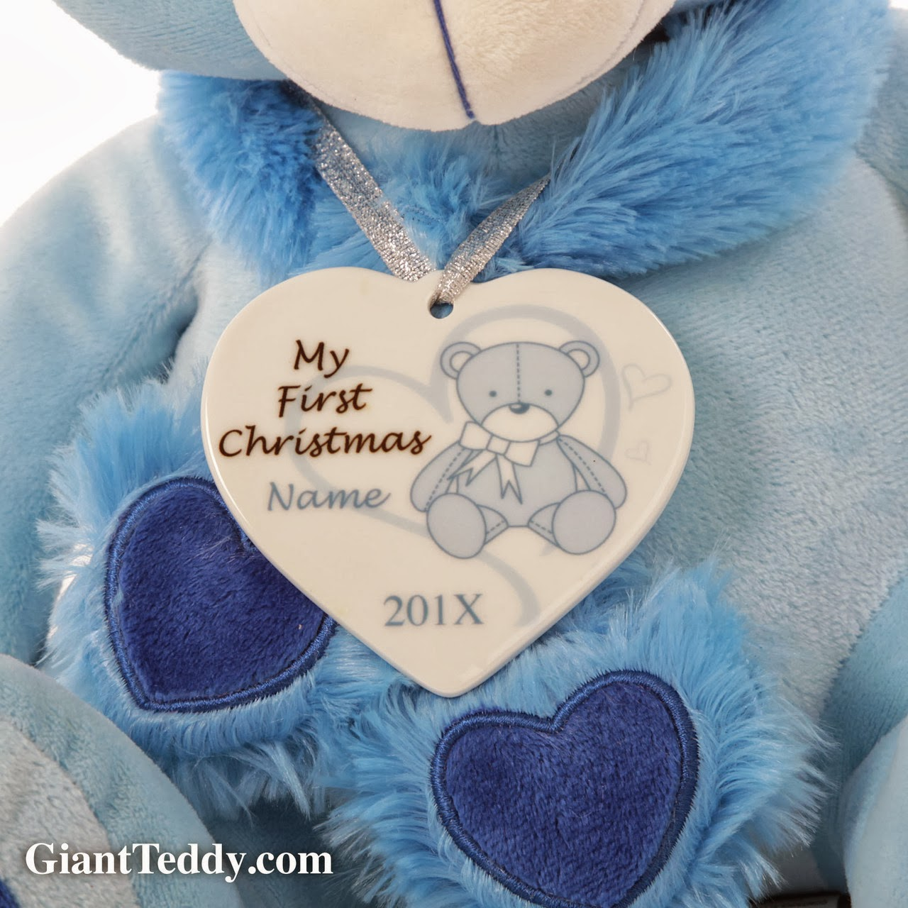 ornament and sweet blue teddy bear gift set