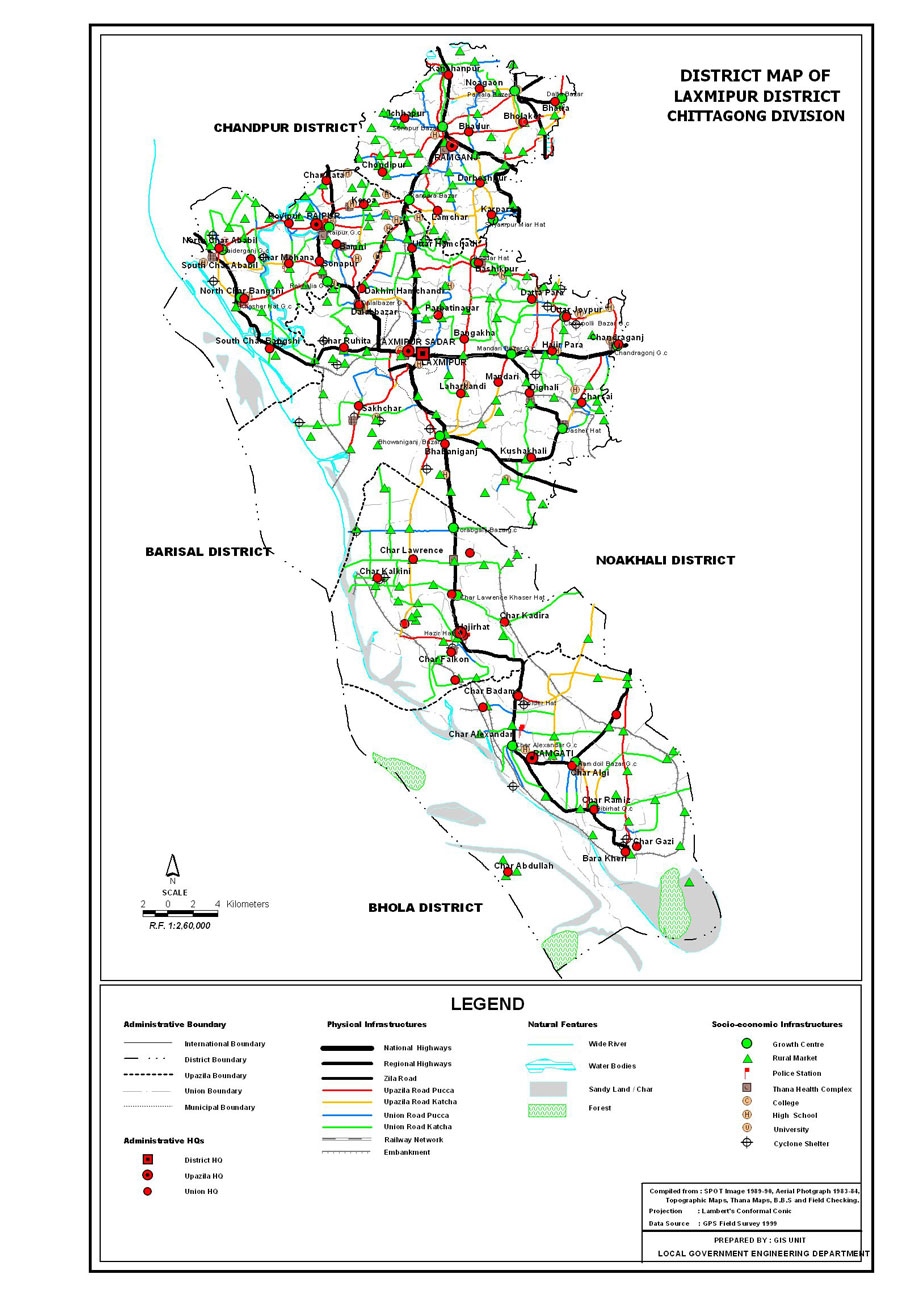 Lakshmipur District Map Bangladesh