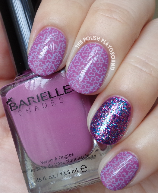 Purple Three Leaf Clover Pattern Stamping Nail Art