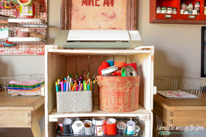Thrifted Craft Room Storage Ideas: Easy and budget friendly pieces that have been upcycled from thrift store finds.