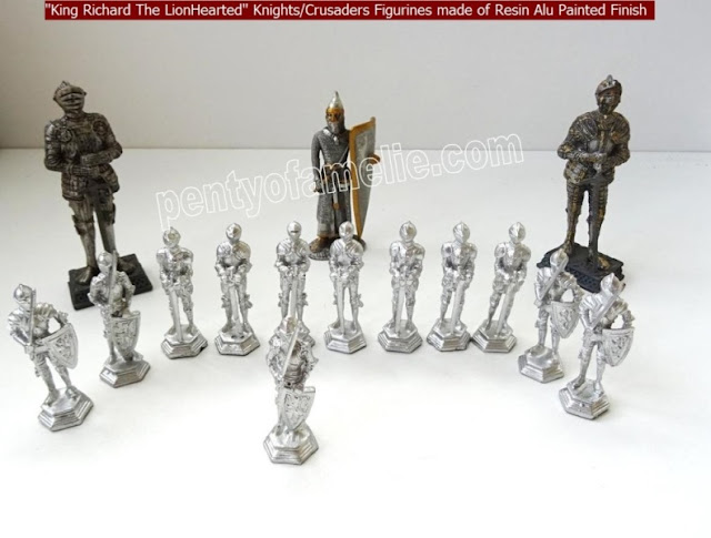 "Nice Small ""King Richard the Lionhearted"" Knights/Crusaders Figurines made of Resin Alu painted Finish"