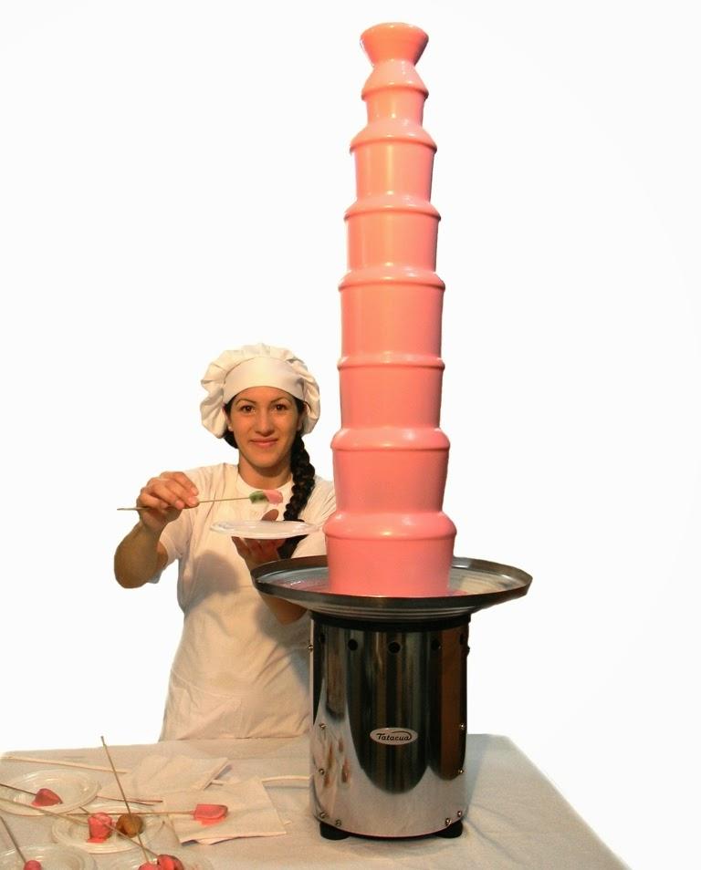 cascada de chocolate blanco rosa