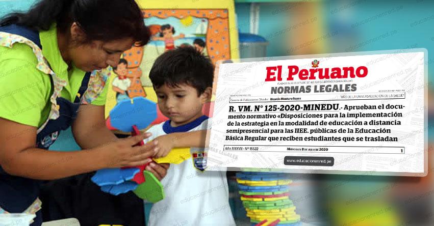 MINEDU aprueba estrategia de educación a distancia semipresencial para nuevos estudiantes de la Educación Pública (R. VM. N° 125-2020-MINEDU)