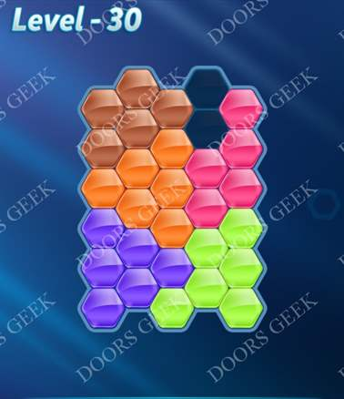 Block! Hexa Puzzle [6 Mania] Level 30 Solution, Cheats, Walkthrough for android, iphone, ipad, ipod
