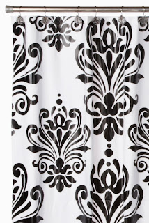Carnation Home Fashions Beacon Hill Peva Shower Curtain and Matching Resin Shower Curtain Hooks, Black