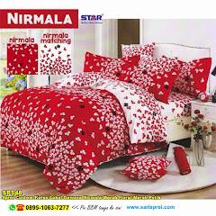 Sprei Custom Katun Lokal Dewasa Nirmala Merah Floral Merah Putih