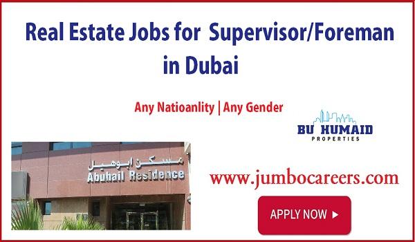 Real estate jobs with description in Dubai, Supervisor foreman jobs in UAE,