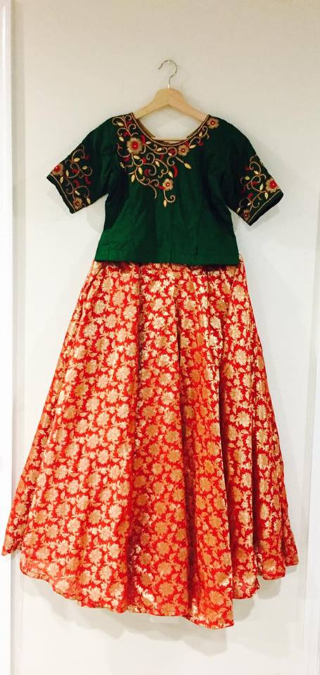Orange Bottle Green Floral Lehenga