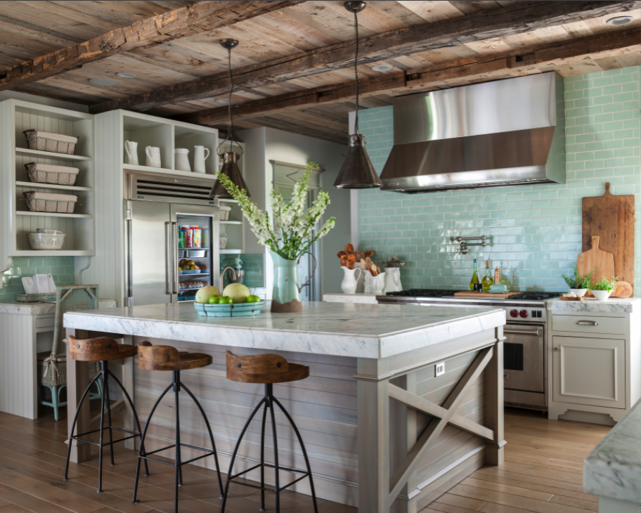 Rustic elegant kitchen with green subway tile. Come see this Rustic Elegant French Gustavian Cottage by Decor de Provence in Utah! #frenchcountry #frenchfarmhouse #interiordesigninspiration #rusticdecor #europeanfarmhouse #housetour
