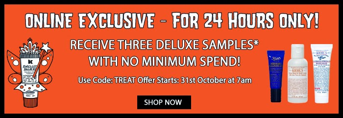 Kiehl's - Receive 3 Deluxe Samples With No Minimum Spend on 31st October 2014