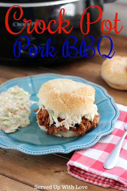 Crock Pot Pork BBQ recipe from Served Up With Love