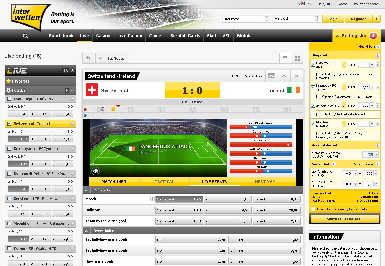 Interwetten Live Betting Screen
