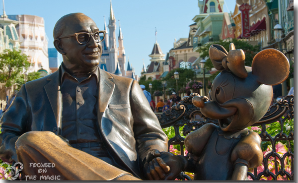 Roy Disney and Minnie Statue in the Magic Kingdom