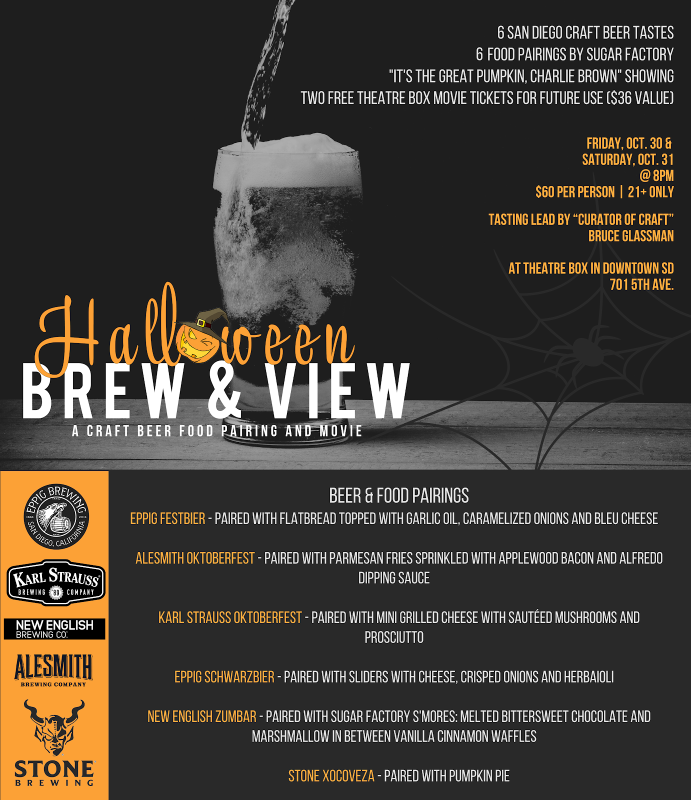 Don't miss the San Diego Halloween Brew & View - October 30 & 31!