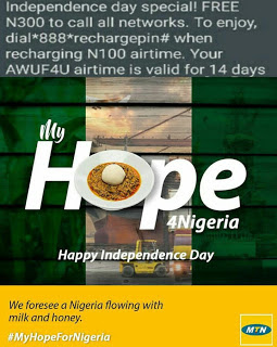 Get Free 300Naira Airtime On Your Mtn Sim, Nigeria Independence Day Offer