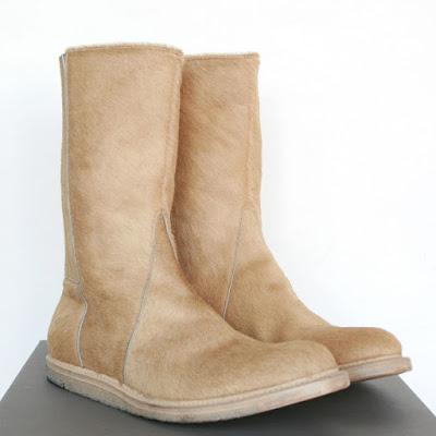 rick owens pony fur calf hair boots