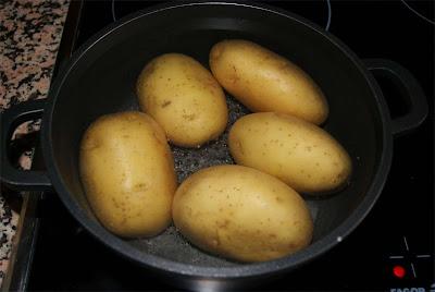 patatas con jamón a la crema de soja paso 1