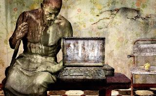 Imagen modificada de una escultura griega sentada en una mesa junto a un computador pórtatil